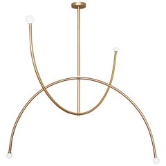 "Brass ""Double Arch"" Pendant Light, Square in Circle"