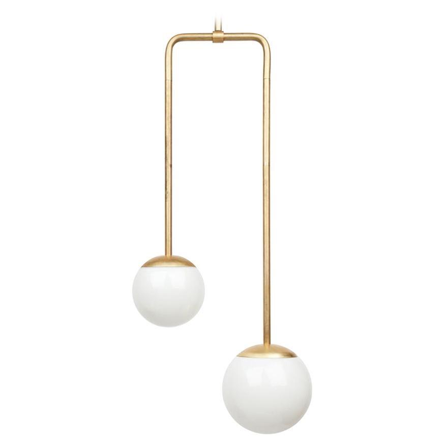 Brass Double Circuit Globe Pendant Light