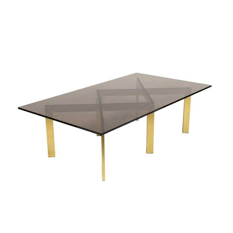 Mid-Century Modern Brass Double X Base Coffee Table by Thayer Coggin For Sale
