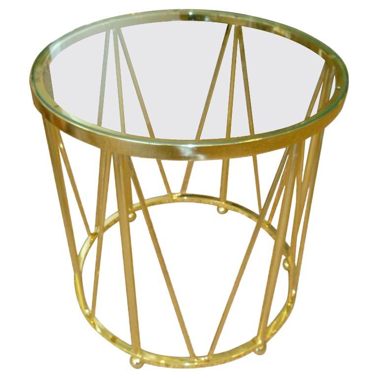 Brass Drum End or Side Table Vintage For Sale