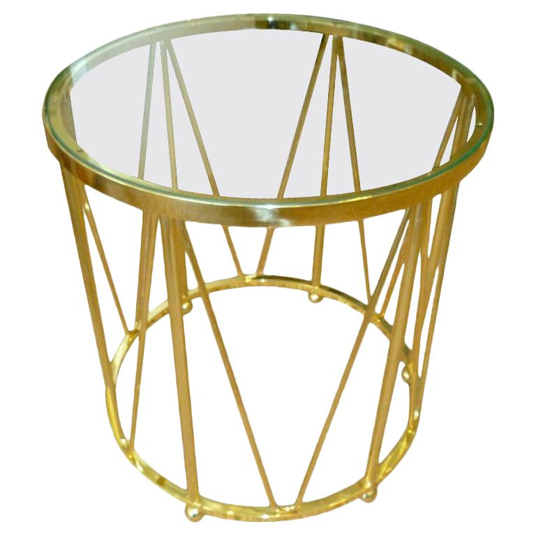 Brass Drum End or Side Table Vintage For Sale