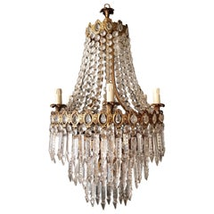 Brass Empire Chandelier Crystal Lustre Ceiling Lamp Hall Antique Art Nouveau