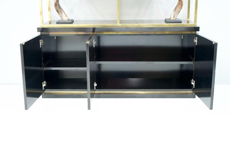 Brass Étagère Shelf or Room Divider with Black Sideboard by Kim Moltzer, 1970s For Sale 3