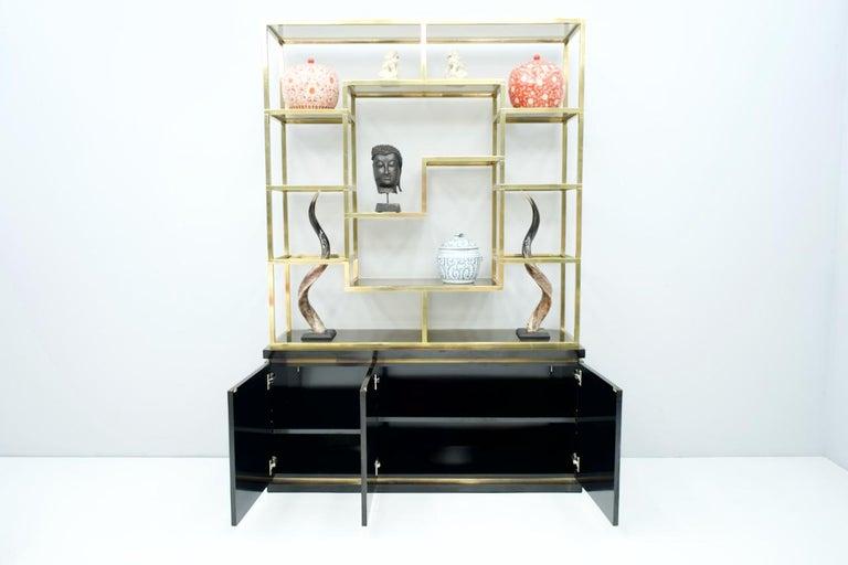 Brass Étagère Shelf or Room Divider with Black Sideboard by Kim Moltzer, 1970s For Sale 4