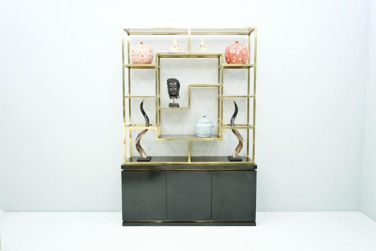 Brass Étagère Shelf or Room Divider with Black Sideboard by Kim Moltzer, 1970s For Sale 5