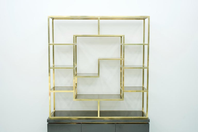 French Brass Étagère Shelf or Room Divider with Black Sideboard by Kim Moltzer, 1970s For Sale