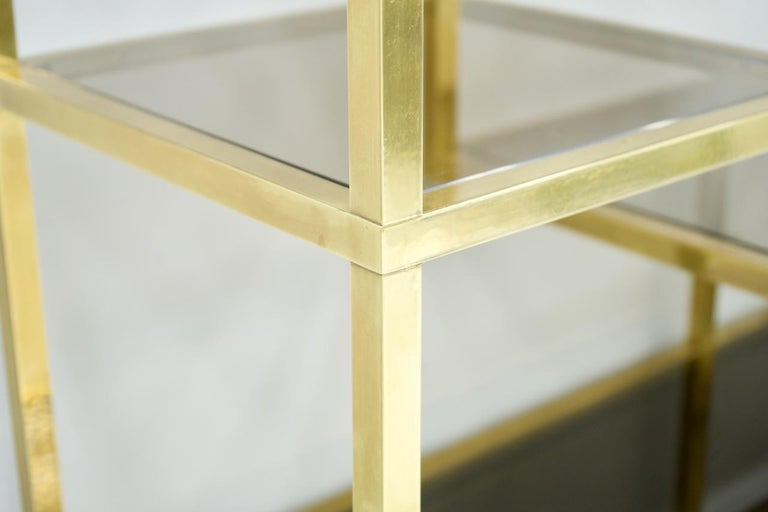 Brass Étagère Shelf or Room Divider with Black Sideboard by Kim Moltzer, 1970s In Good Condition For Sale In Frankfurt / Dreieich, DE