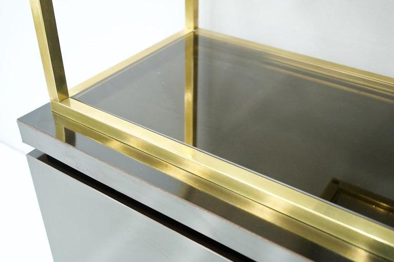 Wood Brass Étagère Shelf or Room Divider with Black Sideboard by Kim Moltzer, 1970s For Sale