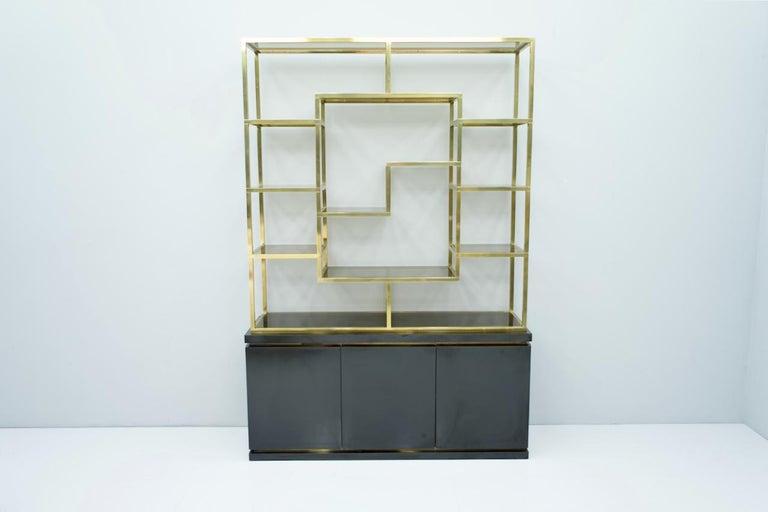 Brass Étagère Shelf or Room Divider with Black Sideboard by Kim Moltzer, 1970s For Sale 2