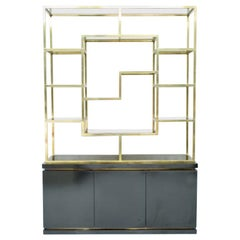 Brass Étagère Shelf or Room Divider with Black Sideboard by Kim Moltzer, 1970s