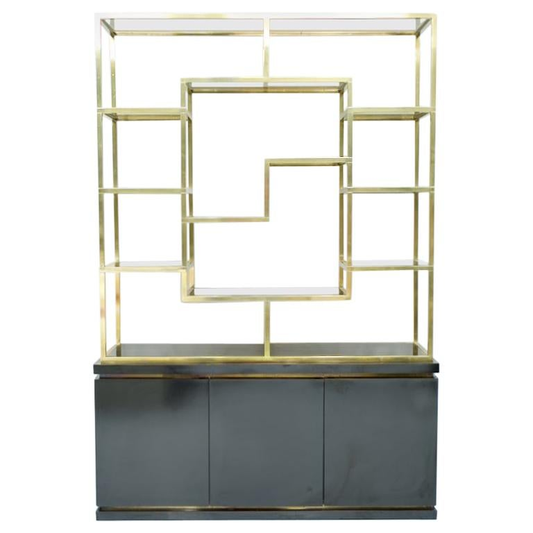 Brass Étagère Shelf or Room Divider with Black Sideboard by Kim Moltzer, 1970s For Sale