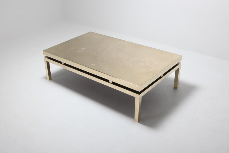 International Style Brass Etched Coffee Table by Willy Daro, 1970s, Belgium For Sale