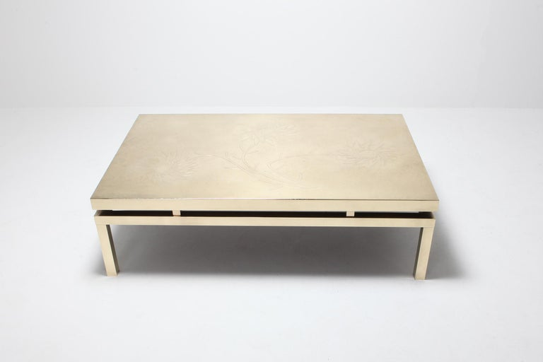 Belgian Brass Etched Coffee Table by Willy Daro, 1970s, Belgium For Sale