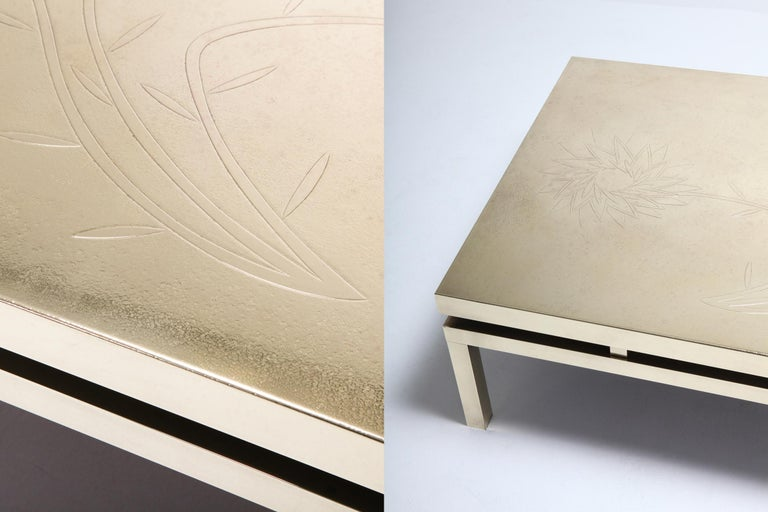 Brass Etched Coffee Table by Willy Daro, 1970s, Belgium In Excellent Condition For Sale In Antwerp, BE