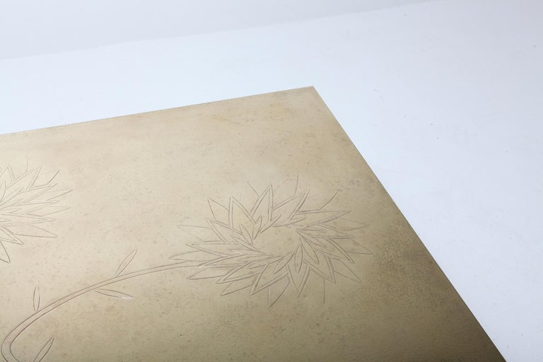 Late 20th Century Brass Etched Coffee Table by Willy Daro, 1970s, Belgium For Sale