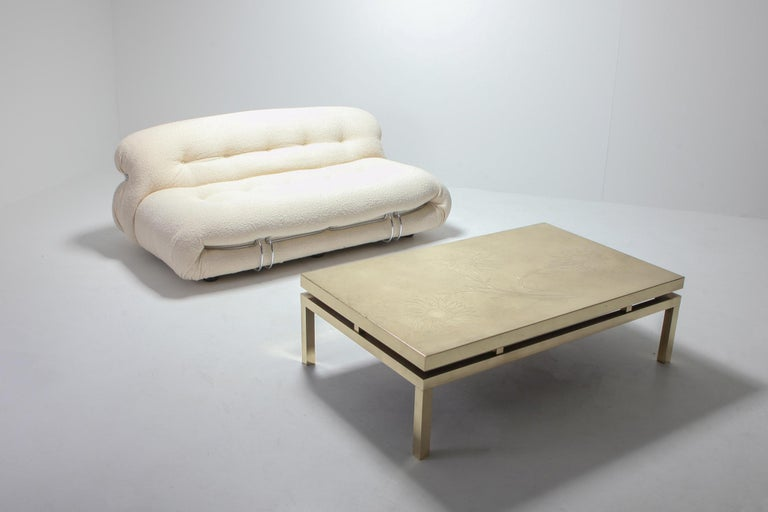 Brass Etched Coffee Table by Willy Daro, 1970s, Belgium For Sale 2