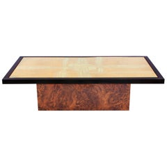 Brass Etched Coffee Table on burl base by Maho, Belgium