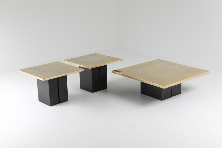 Christian Heckscher, coffee and two side tables, Belgium, 1970s.