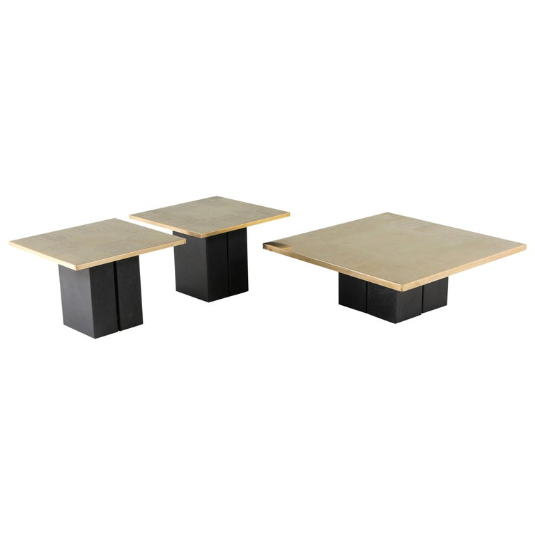Brass Etched Coffee Table Set by Christian Heckscher For Sale