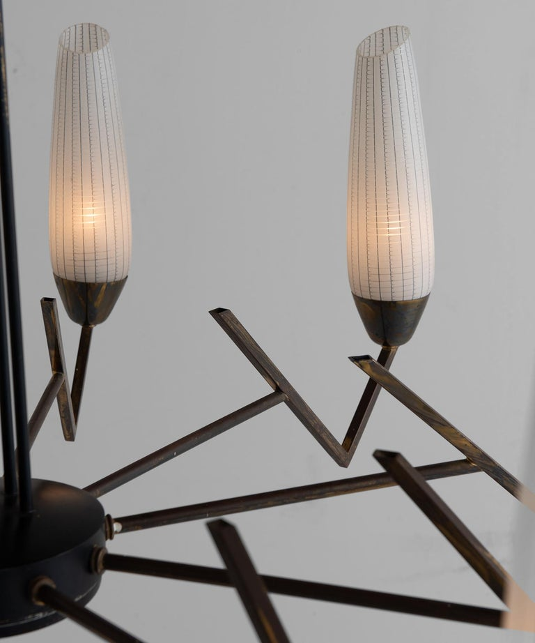 Italian Brass & Etched Glass Chandelier     For Sale