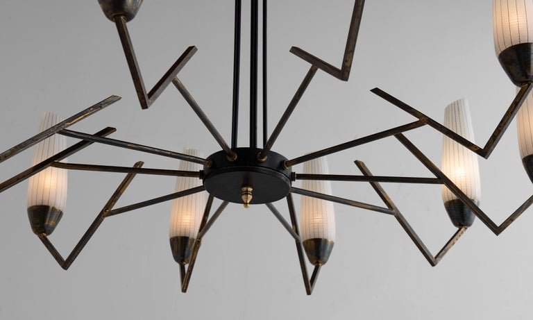 Brass & Etched Glass Chandelier     In Good Condition For Sale In Culver City, CA