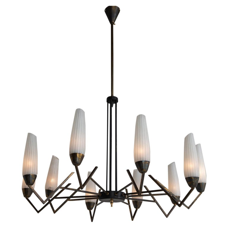 Brass & Etched Glass Chandelier     For Sale