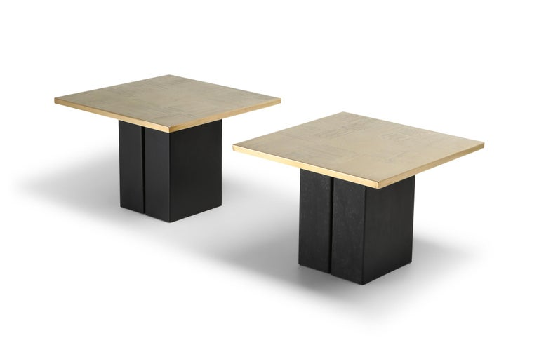 European Brass Etched Side Table Set by Christian Heckscher For Sale