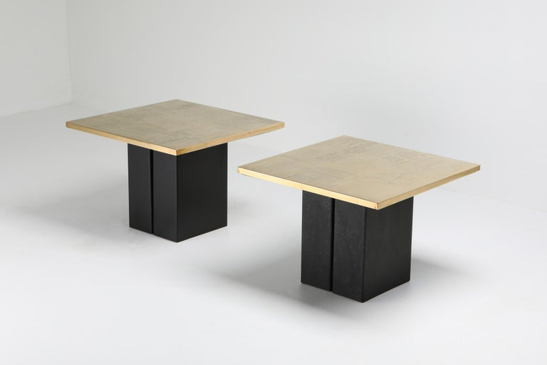 Brass Etched Side Table Set by Christian Heckscher In Excellent Condition For Sale In Antwerp, BE