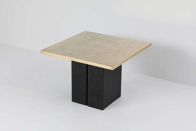 20th Century Brass Etched Side Table Set by Christian Heckscher For Sale