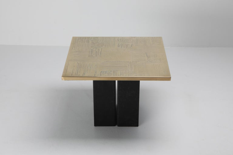 Brass Etched Side Table Set by Christian Heckscher For Sale 1