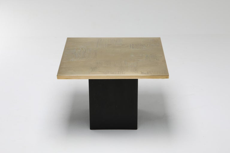 Brass Etched Side Table Set by Christian Heckscher For Sale 2