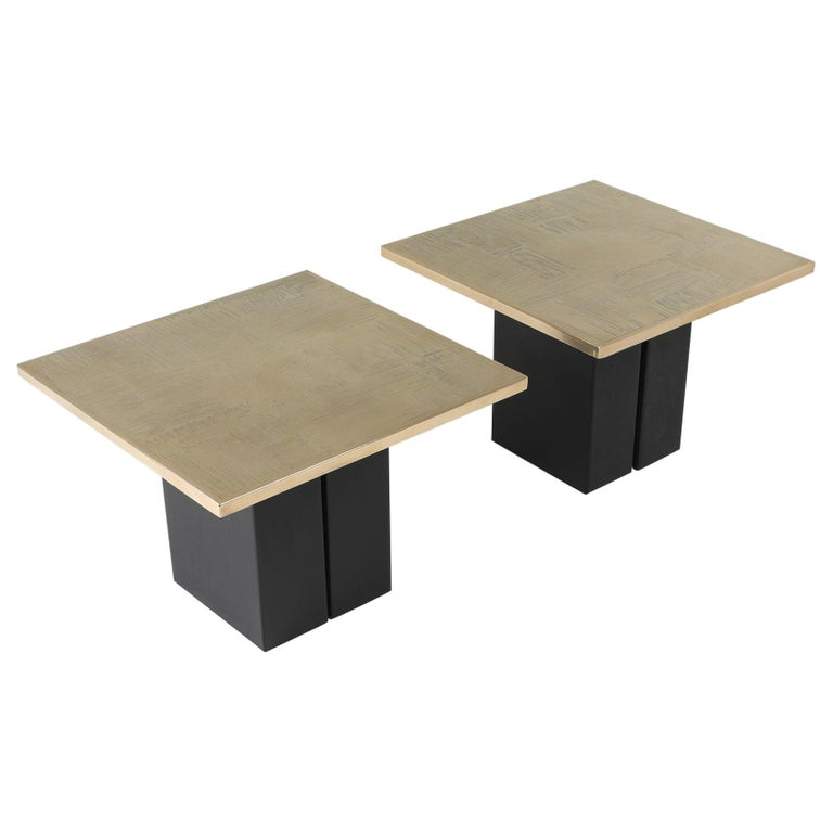 Brass Etched Side Table Set by Christian Heckscher For Sale