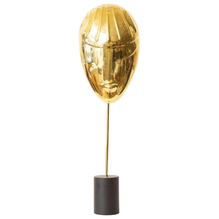 Brass Face Sculpture on Black Stand Vintage
