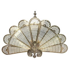 Brass Fan Screen with a Decorative Finial, 19th Century