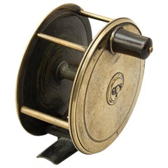 Brass Farlow Salmon Fly Fishing Reel in Brass with Horn Handle