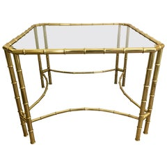 Brass Faux Bamboo and Glass Center Centre Foyer Table Made in Italy