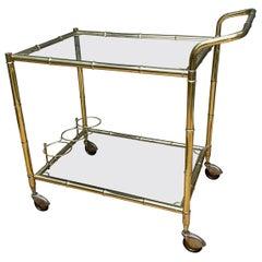 Brass Faux Bamboo Bar Cart