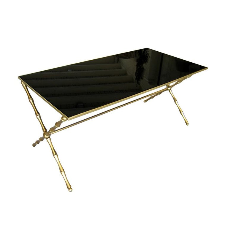 Brass Faux Bamboo Coffee Table: Brass Faux-Bamboo Cocktail Table Attributed To Maison