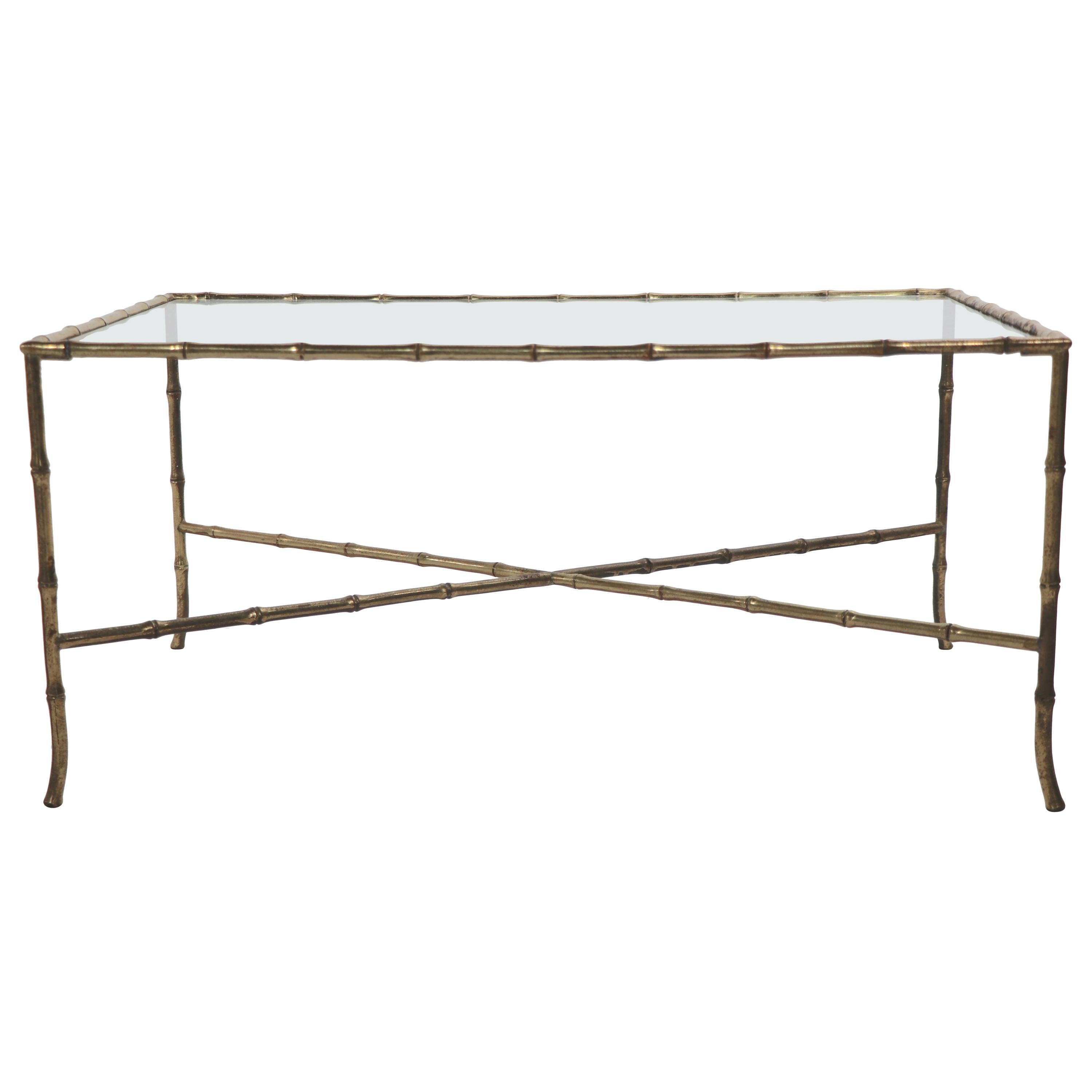 Brass Faux Bamboo Glass Top Coffee Table