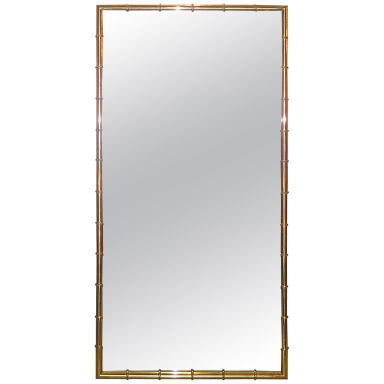 Brass Faux Bamboo Long Mirror by Mastercraft For Sale