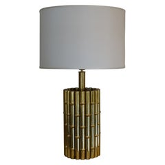 Brass Faux Bamboo Table Lamp, Italy, circa 1970s