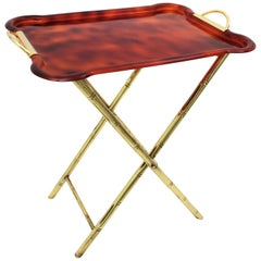 Brass Faux Bamboo & Tortoiseshell Lucite Dior Home Style Folding Tray Table