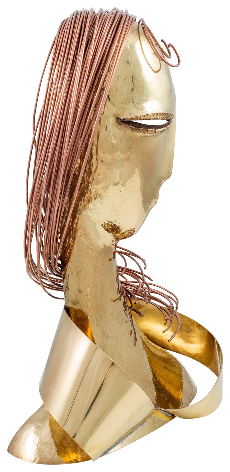 Brass Female Bust Franz Hagenauer Werkstatte Hagenauer Wien early 1980s Austrian