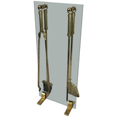 Brass Fire Place Tools on Glass and Brass Stand