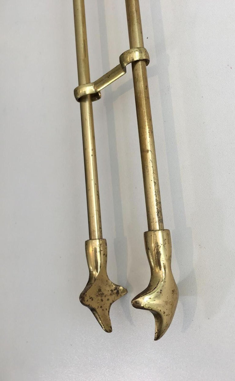 Brass Fire Place Tools on Stand, circa 1970 For Sale 4