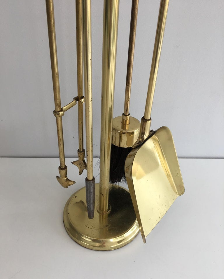 Gilt Brass Fire Place Tools on Stand, circa 1970 For Sale