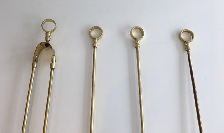 Late 20th Century Brass Fire Place Tools on Stand, circa 1970 For Sale