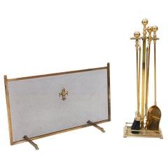 Brass Fireplace Set and Screen