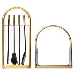 Brass Firetool and Log Basket