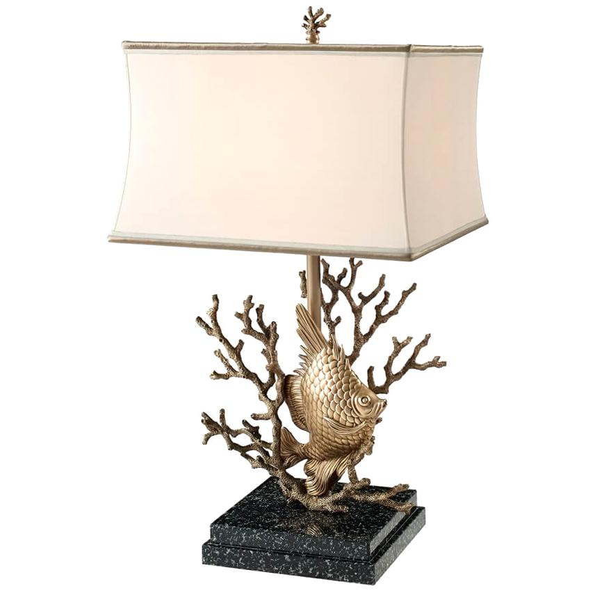 Brass Fish and Coral Table Lamp